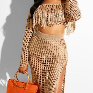 knit two piece cover up/ crop top and skirt